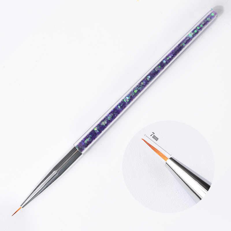 3Pcs เล็บเล็บเล็บ Art แปรงวาดภาพวาดแกะสลักปากกาเล็บเครื่องมือ 7/9/11mm liner UV เจลเครื่องมือตกแต่ง