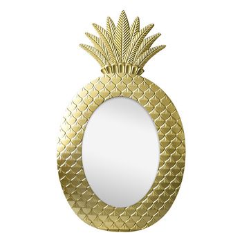 Vintage pineapple geometric pattern golden wall decoration mirror bedroom dressing mirror window model decoration pineapple vase