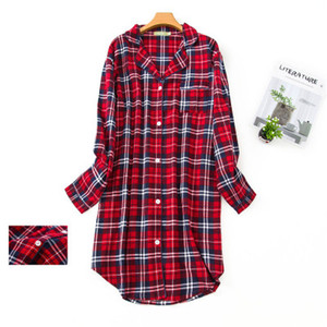 Image 5 - Pure Cotton Women Stitch Nightdress Plaid Femme Sleepwear Big Size Sexy Long Pyjama 2020 Fashion Homewear