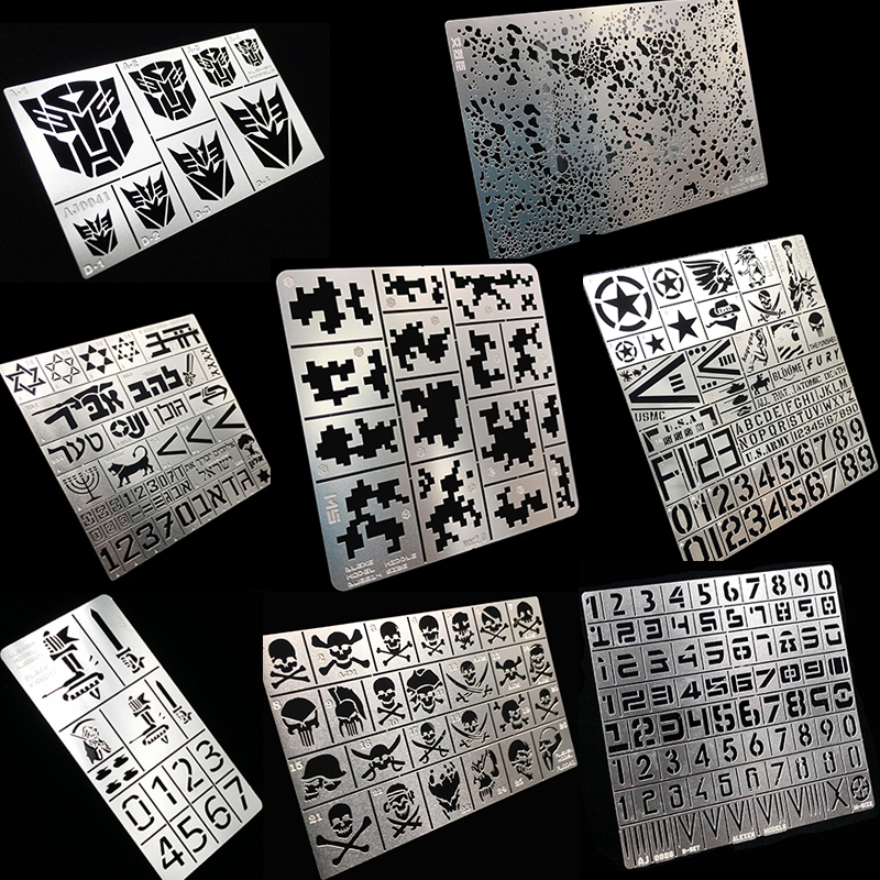 Military Building Tank Airplane Model Tools Digital Camouflage Missing Jet Leaky Spray Plate Etch Sheet Metal Masking Plates