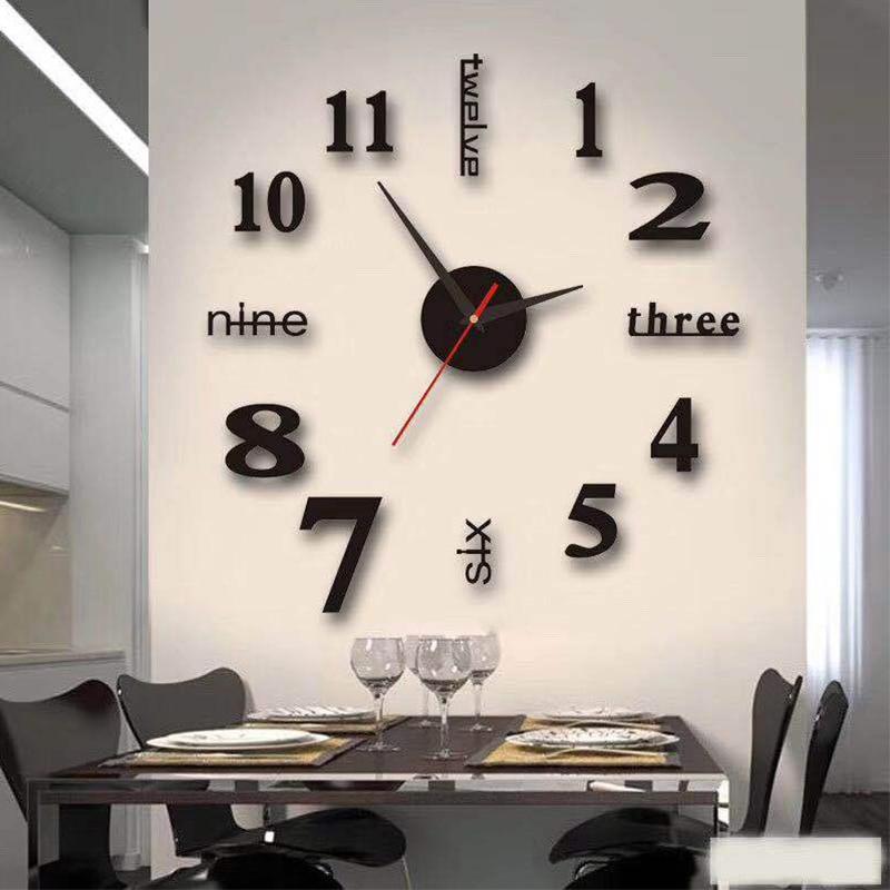 3D Wall Clock Acrylic Mirror Wall Stickers Modern DIY Wall Clocks Home Decor Living Room Quartz Needle reloj de pared 2020 NEW 1