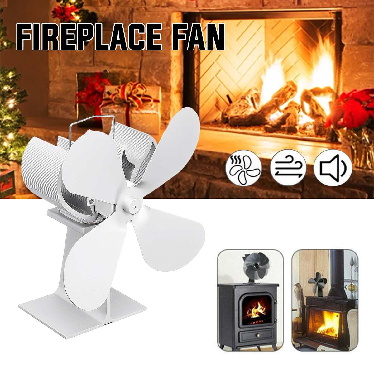 Hot White Fireplace 4 Blades Heat Powered Stove Fan Log Wood