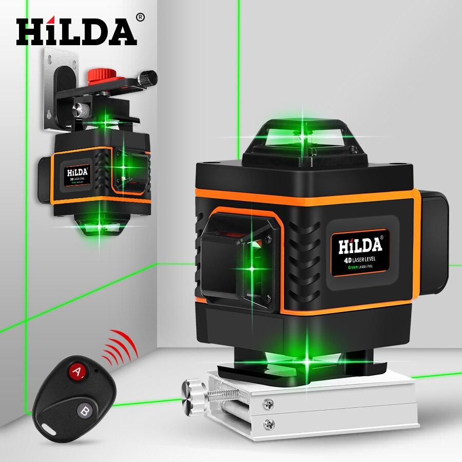 HILDA 16 Linhas 4D Laser Nível Nível de Auto-Nivelamento 360 Horizontal E Vertical Nível Cruz Super Poderoso Laser Verde