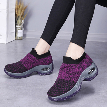 2020 Fashion Women Sneakers Shoes Flat Slip on Platform Sneakers for Women Black Breathable Mesh Sock Sneakers Shoes