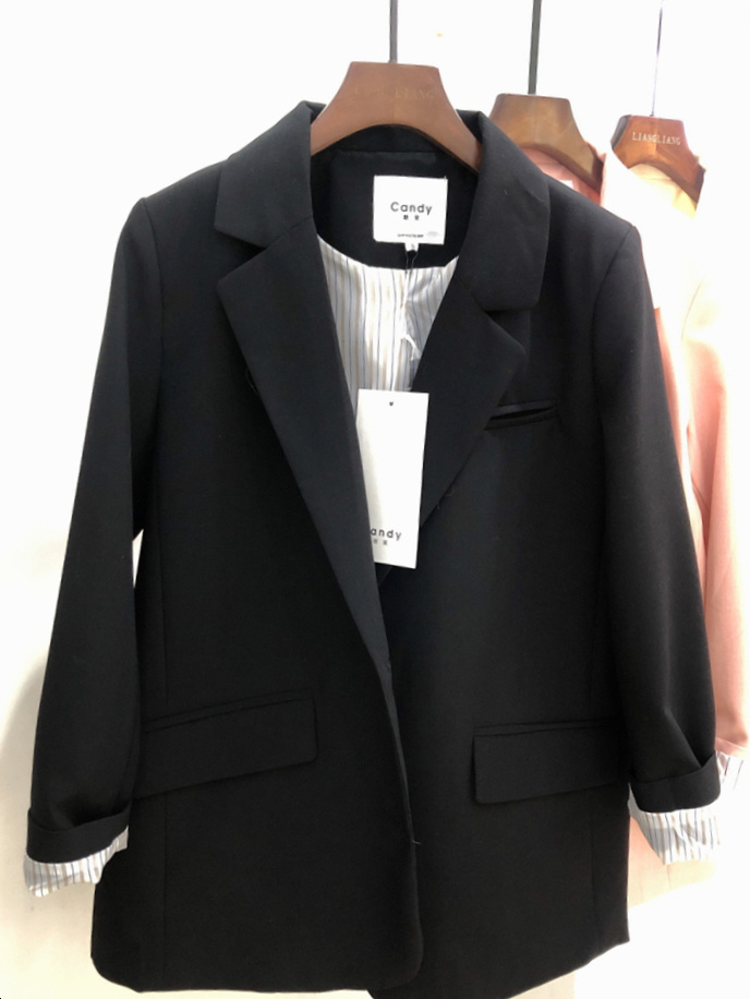 Casual Loose Ladies Blazer Solid Pink Vintage Suit Jacket Stylish Blazer Paillette Korean Women's Clothing Spring Autumn MM60NXZ
