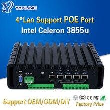 Yanling новый тип промышленного безвентиляторного мини-ПК, barebone с intel 3855u двухъядерным 2 COMS 4 lan sup портом 802.3af, стандартный POE порт