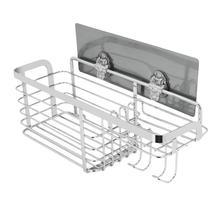 Yapıştırıcı banyo rafı organizatör duş rafı mutfak depolama raf duvara monte sondaj paslanmaz çelik tel sepet kanca