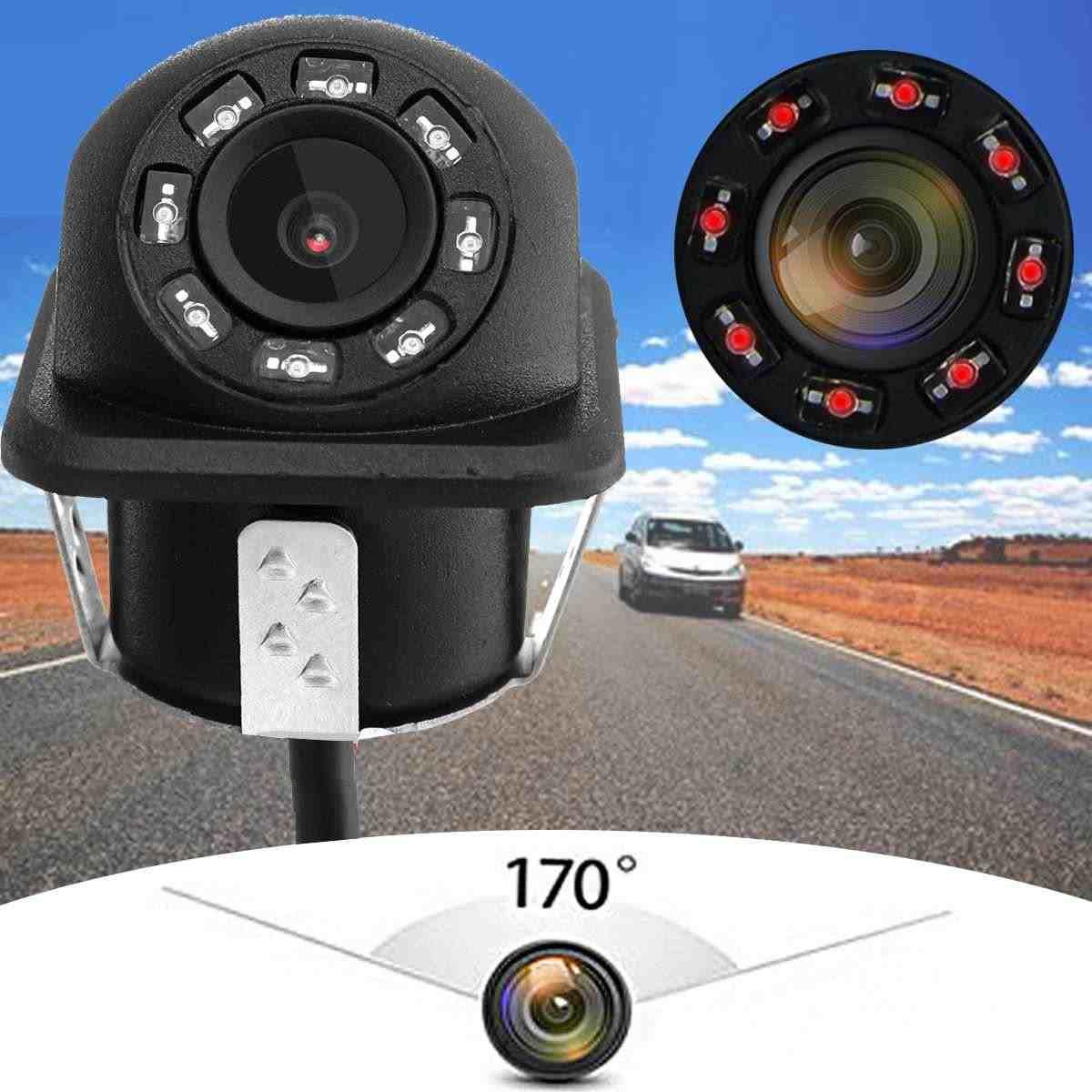 Cámara de marcha atrás Universal 170 grados gran angular visión nocturna cámara de visión trasera de coche impermeable 8 LED IR luz cámara de aparcamiento
