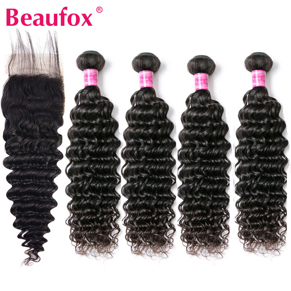 Beaufox Hair Weave 4 Bundles With Closure Indian Deep Wave Bundles With Closure Remy Human Lace Closure With Bundles