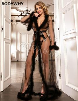 Sexy Women Transparent Faux Fur Trim See-Through Mesh Lace Long Sleeve Tulle Maxi Sleepwear Dress Robes Large Size