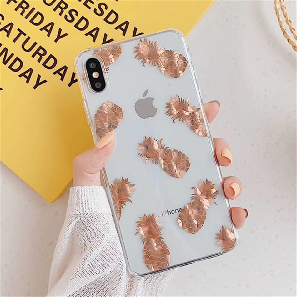 Hec3c9dbd35f74cc2893a0924b1f3b74fN USLION Glitter Gold Leaf Transparent Case For iPhone 11 Pro X XS Max XR 8 7 Plus 11 Clear Phone Back Cover Bling Pineapple Cases