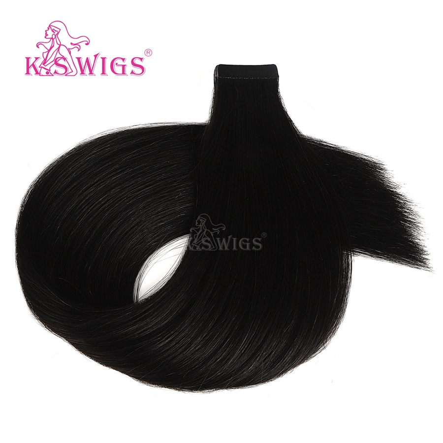 K.S WIGS Luxury Tape In Remy Human Hair Straight Double Drawn Skin Weft Seamless Human Hair Extensions 20'' 50g