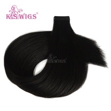 K.S WIGS Luxury Tape In Remy Human Hair Straight Double Drawn Skin Weft Seamless Human Hair Extensions 20'' 50g isheeny remy human hair tape extensions straight 12 22 skin weft seamless hair extension samples for salon hair testing