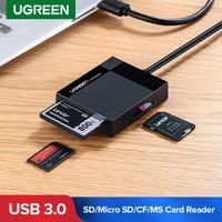 Ugreen-lector de tarjetas USB 3,0, adaptador OTG de tarjeta SD, Micro SD, TF, CF, MS, Flash compacto, para ordenador portátil, lector de tarjetas 4 en 1