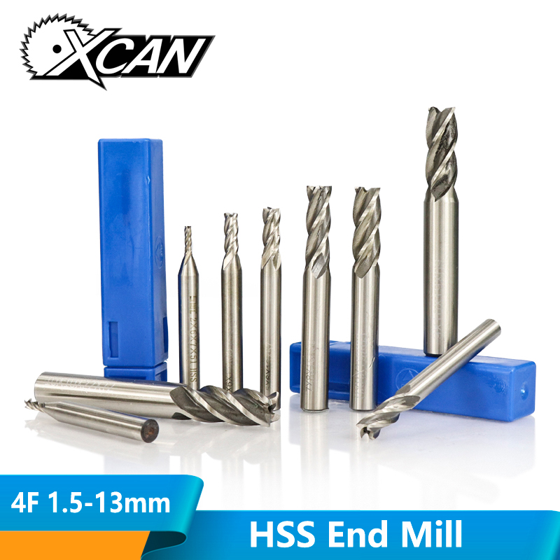 XCAN 1pc Diameter 1.5-13mm HSS End Mills 4 Flute Straight Shank End Milling Cutter