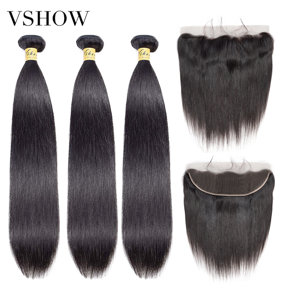 VSHOW Malaysian Straight Human Hair Bundles With Frontal Closure Remy Hair Extensions 3 Or 4 Hair Bundles With Lace Frontal