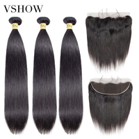 VSHOW Malaysian Straight Human Hair Bundles With 13x4 Frontal Closure Remy Hair Extensions 3 or 4 Hair Bundles With Frontal