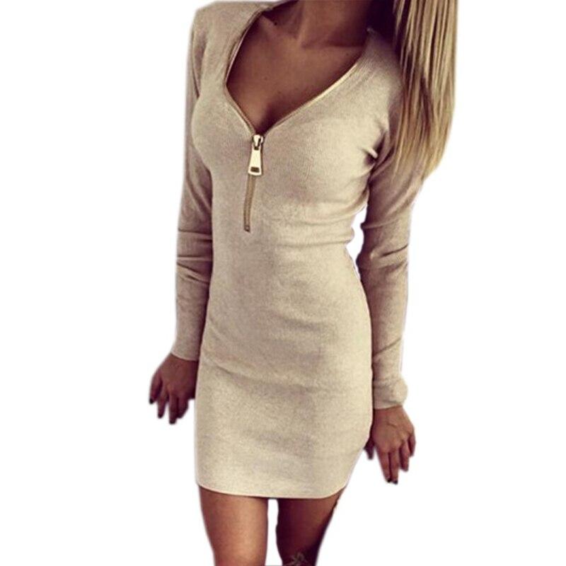 Image 5 - Vestidos Knitting 2018 Women Dresses Zipper O neck Sexy Knitted Dress Long Sleeve Bodycon Sheath Pack Hip Dress Vestidos-in Dresses from Women's Clothing