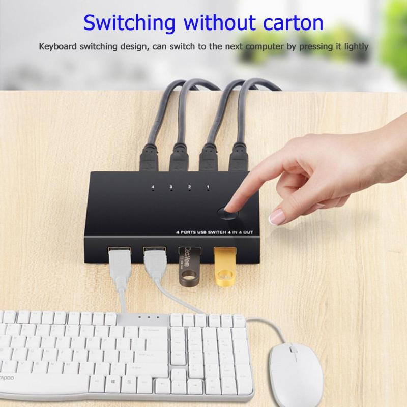 USB KVM Switch Box 4 Port USB 2.0 Switcher PC Sharing Splitter For Keyboard Mouse Printer Monitor