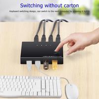 USB KVM Switch Box 4 Port USB 2.0 Switcher PC Sharing Splitter for Keyboard Mouse Printer Monitor