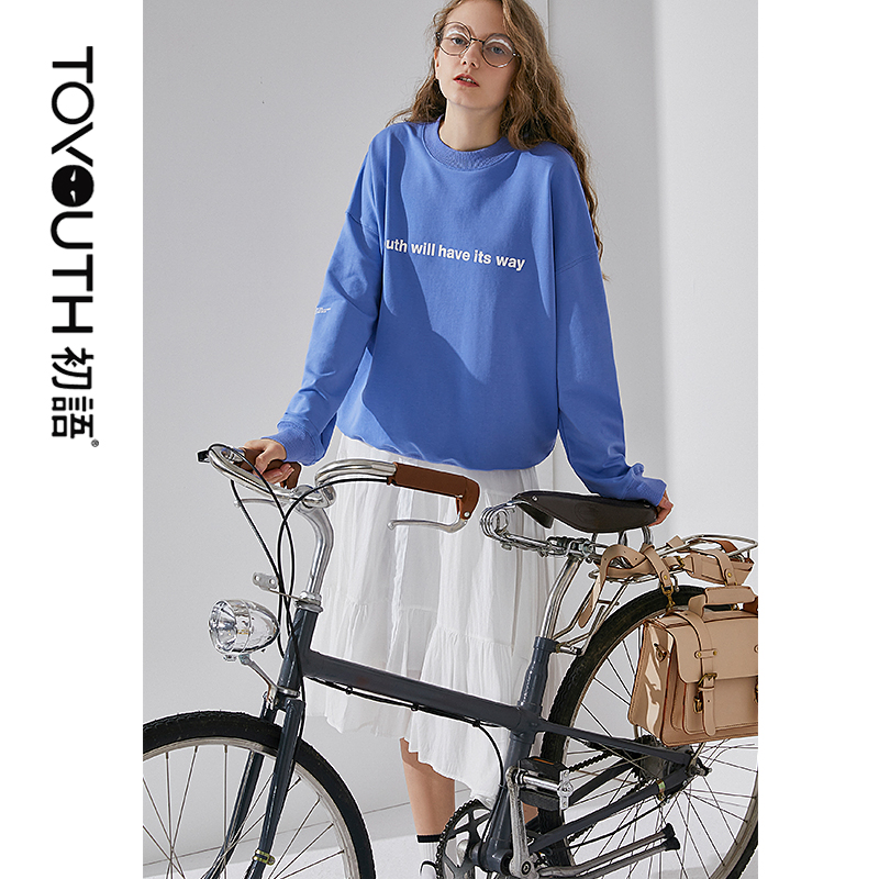 Toyouth 2020 Spring New Arrival Women Casual Loose White Letter Round Neck Women Black Red Blue Pullover Tops For Girl Female