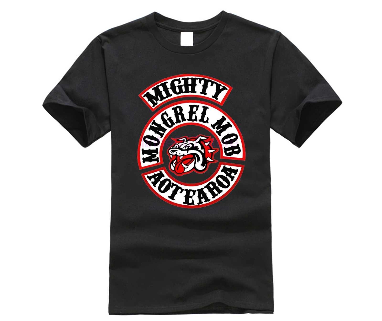Casual T Shirts Mongrel Mob MC Printed Graphic Men Round Neck Tops Black