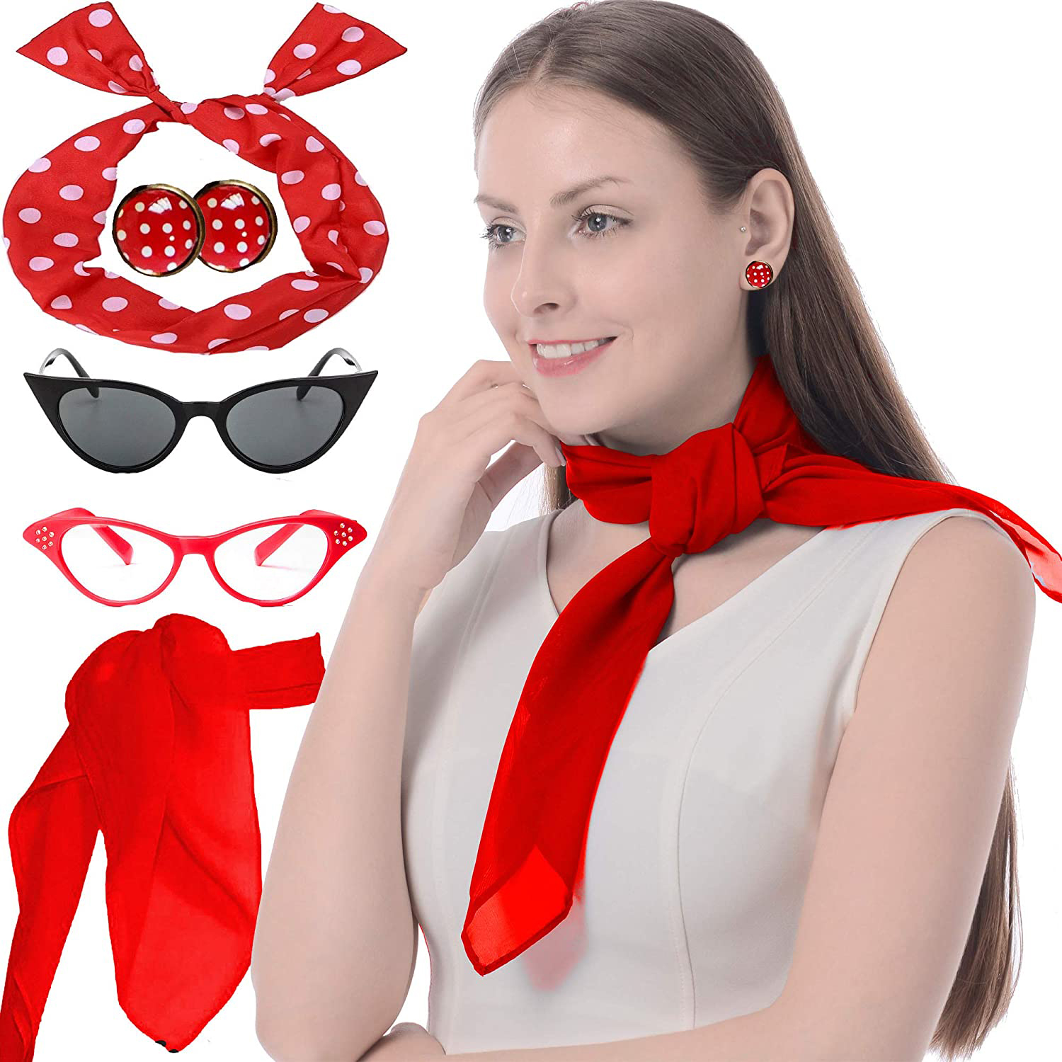6 Pieces 50s Costume Accessories Set Cat Eye Glasses Fancy Dress For Women