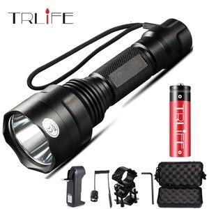 Image 1 - 1 מצב LED פנס T6/L2 טקטי פנס אלומיניום ציד פלאש אור לפיד מנורת + 18650 + מטען + אקדח הר לציד