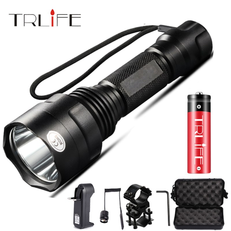 1 Mode LED Flashlight T6/L2 Tactical Flashlight Aluminum Hunting Flash Light Torch Lamp +18650+Charger+Gun Mount for Hunting