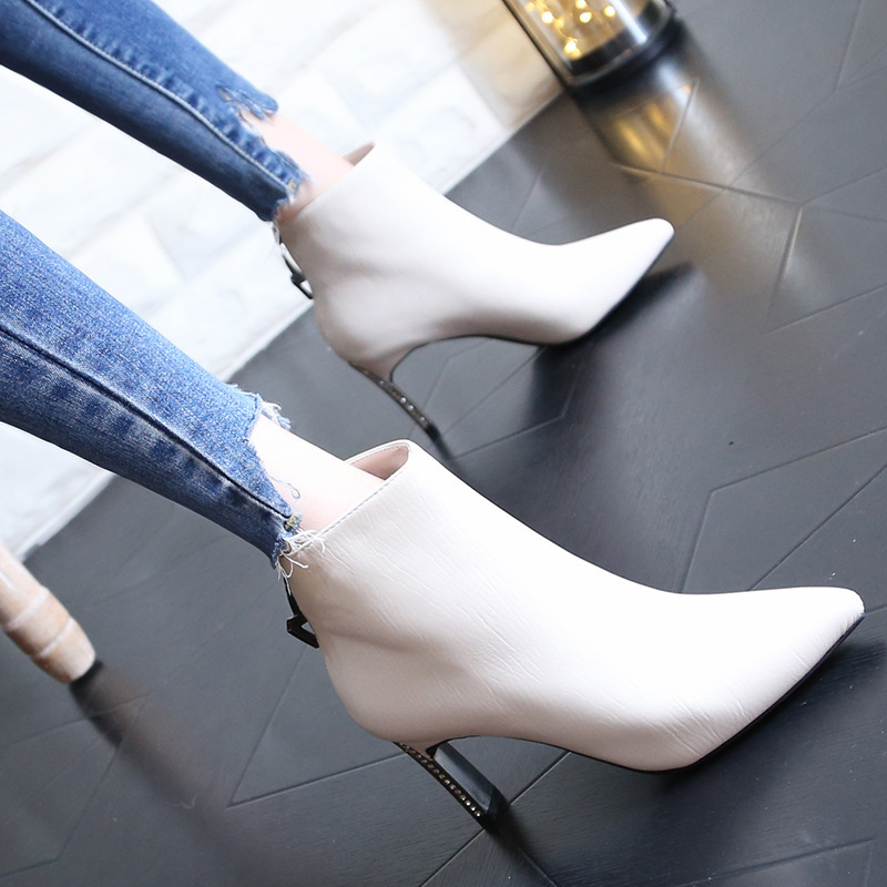 Rhinestone Light Short Boots Woman 2019 Winter Metal High-heeled Shoes Fine With Boots