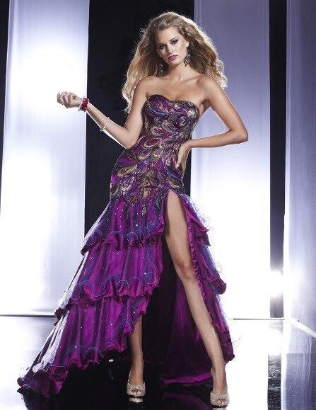 Free Shipping 2018 Fashion Floor Length Vestido De Festa Formal Party Elegant Sexy Purple Long Prom Gown Bridesmaid Dresses