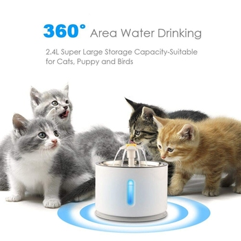 TOP!-Cat Water Fountain Pet Fountain Stainless Steel Top Cat Water Dispenser And Cleaning Brushes 2.4L Ultra Quiet Water Level