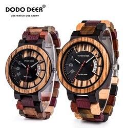 DODO DEER nowy projekt kalendarz Zebra drewniany zegarek mężczyźni luksusowa jakość marki zegarek kwarcowy drewno mężczyźni zegarek Relogio Masculino C07 w Zegarki kwarcowe od Zegarki na