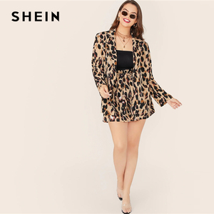 Image 4 - SHEIN Plus Size Leopard Print Notch Collar Blazer and Belted Shorts 2 Piece Set Women Autumn Casual Glamorous Two Piece Set