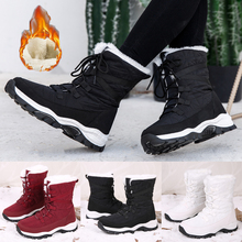 Warm Fur Lined Women Snow Boots Winter Fashion Lace Up Warm Snow Boots Platform Shoes Thick Plush Botas Mujer D30 snow boot for women flats with warm faux fur women snow boots plush female winter warm shoes snow boots flats with confortable