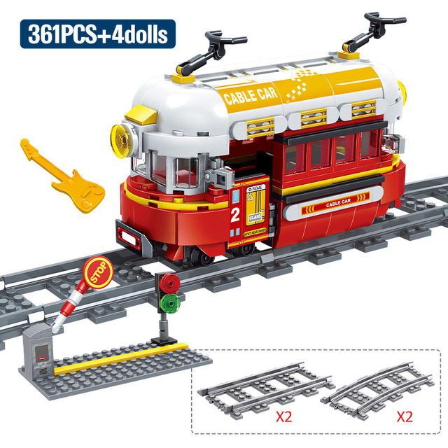 MOC 361pcs City Train Cable Car Move and Turn Creator Building Blocks DIY Assembly Bricks Educational Toys For children gifts 1