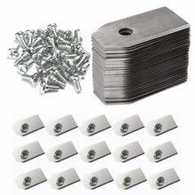 0.75mm prata jardim ferramentas de aço inoxidável cortador de grama lâmina substituição + parafuso peças para husqvarna automowe 18/30/50/100 peças