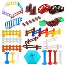 Grande tamanho blocos de construção casa estrutura peças pilar cerca ponte coluna montar tijolos brinquedos educativos para o presente das crianças
