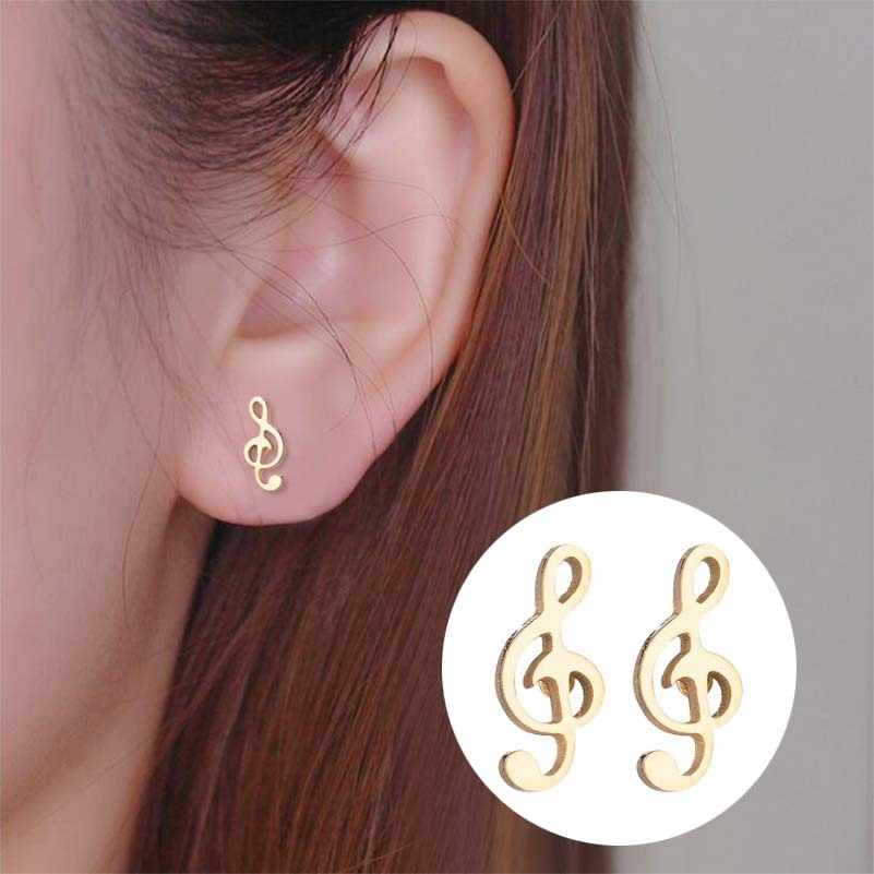 Rock Music Note Earrings Stainless Steel Lovely Small Ear Studs for Women Charm Earrings Jewelry Gift bijoux femme