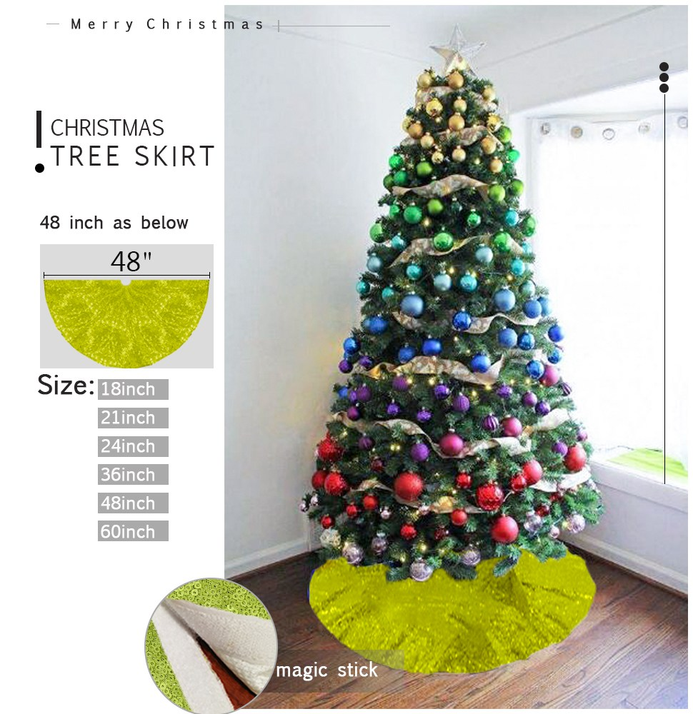 Lime Green Christmas Tree Skirt 48 Inch Personalized Xmas