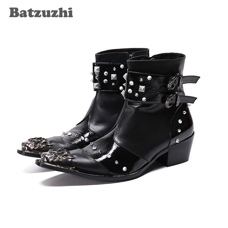 Batzuzhi Western Cowboy Men Boots Pointed Metal Tip Rivets Ankle Leather Boots Men Punk Botas Militares Motorcycle, Big Size 46