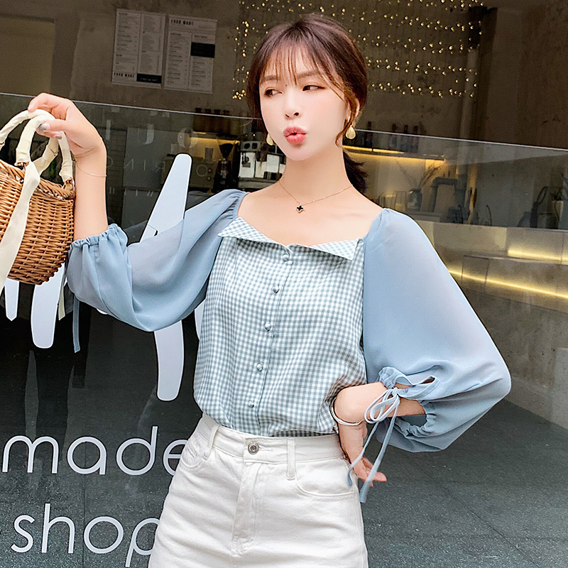 Women Tops lattice Printed Splice Blouses Shirts Summer 2019 Autumn New Female Shirts Chiffon Short Sleeve sweet Blouse 18A6 in Blouses amp Shirts from Women 39 s Clothing
