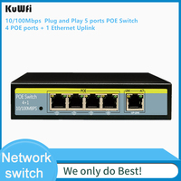 5 porto 10/100 mbps interruptor plug and play com ieee 802.3af potência 4 portas poe e 1 uplink ethernet suporte estender 250m