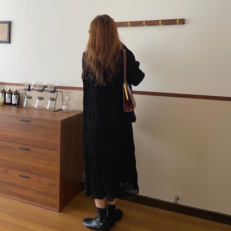 Hec3e167311a14fa796a03bda0aad1102d - Autumn Korean O-Neck Flare Long Sleeves Chiffon Pleated Midi Dress