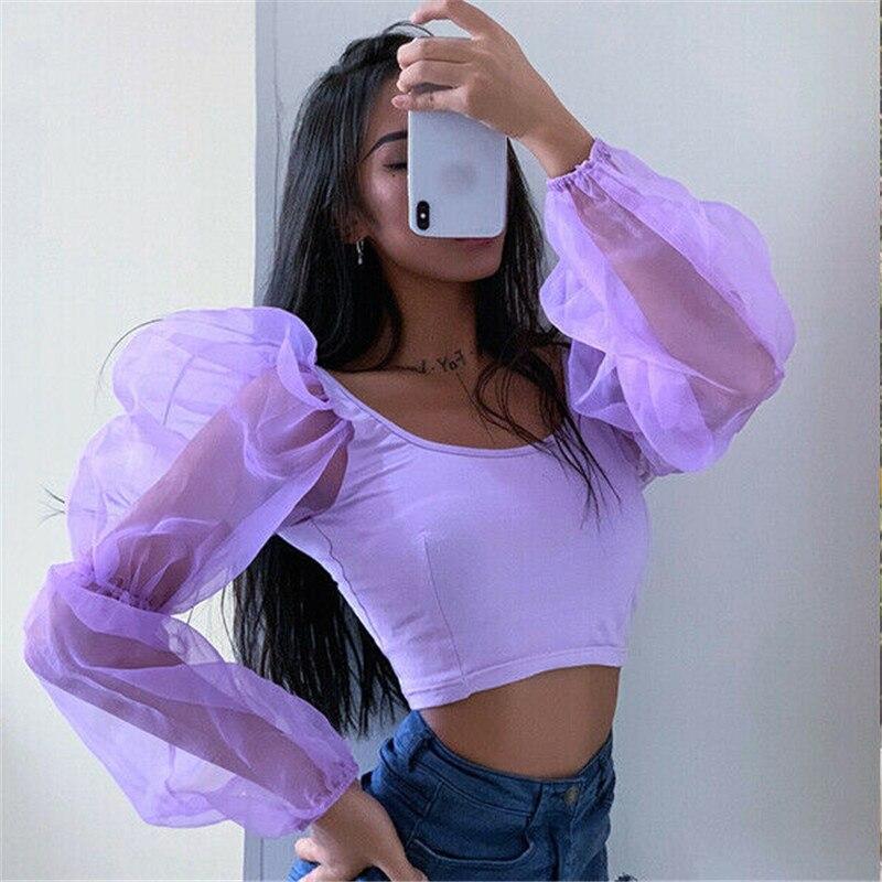 Women T-shirt Ladies Puff Sleeve Pullover Crop Top U Neck Solid Patchwork Spring Autumn Slim Fit Gift Tee Mesh Fashion