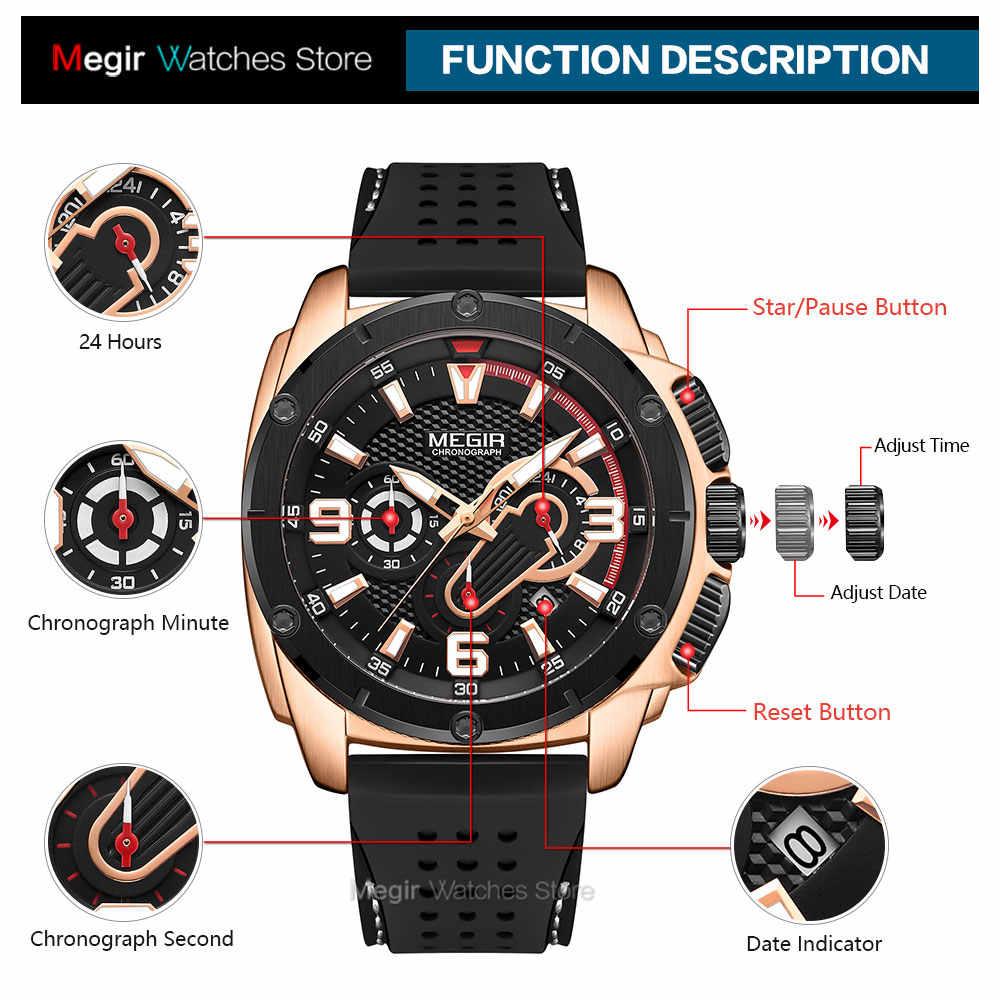 Megir relógio masculino, 2020 moda cronógrafo relógio de quartzo homem à prova d' água pulseira de silicone relógio de pulso luxo militar esporte relógios