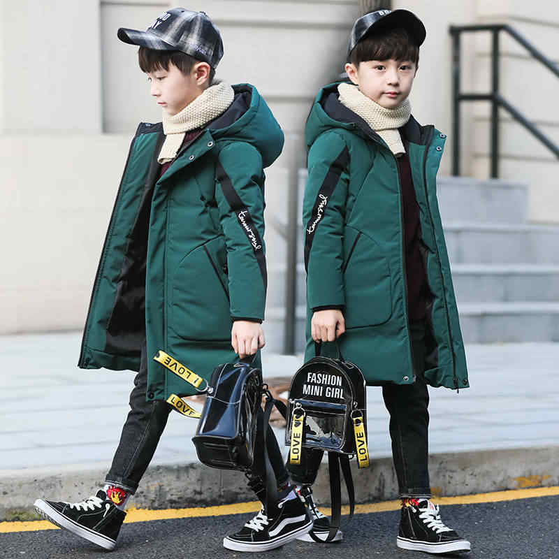 아기 소년의 옷 겨울 두꺼운 따뜻한 자 켓 코 튼 패션 코 튼 웃는 인쇄 후드 자 켓 긴 코 튼 소년의 코 튼 코트