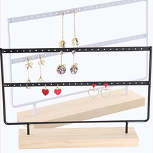 Rack Holder Storage-Organizer Earring Jewelry Display-Stand Dangle Hollow 2-Layer Wood