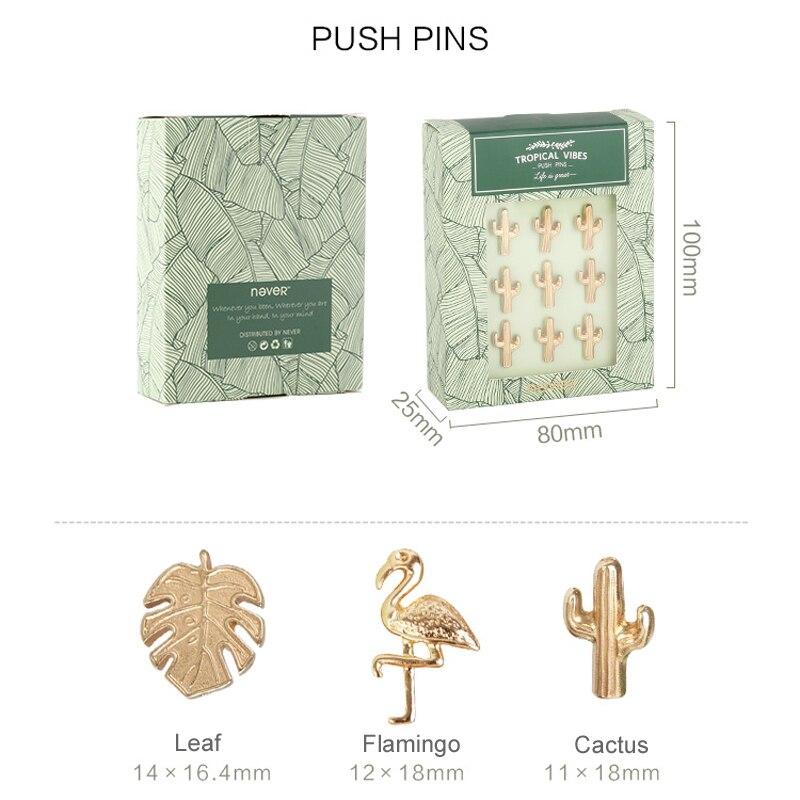 Купить с кэшбэком Plant Series Gold Push Pins Thumb Tack Message Cork Board Flamingo Cactus Shape Push Pin Thumbtack Office Accessories 9pcs