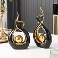 Creative Abstract Modeling Ceramic Sculpture Statues Decoration Modern Home Decoration For Living Room Office Desk Decor Gift